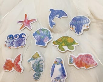UNDER THE SEA Flake Stickers - 10 for Your enjoyment