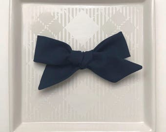 Navy Hand Tied Bow - Baby Girl Nylon Headband - Girls Fabric Bow
