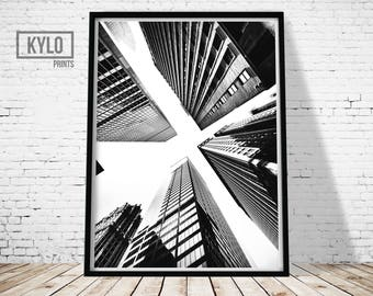 New York Print, Wall Art, Digital Print, Black and White, Architecture, City Skyline Print, Photography Print, Office Decor, Cityscape Print