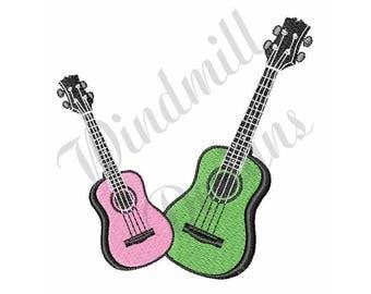 Pink & Green Guitars - Machine Embroidery Design