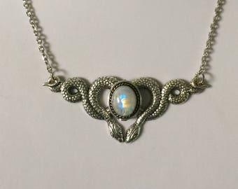 Rainbow moonstone snake necklace
