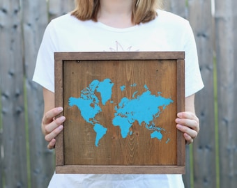 Wooden Wall Art - Rustic Wall Decor - Rustic World Map - Map on Reclaimed Wood - World Map - Wooden Wall Decor - Map of the World