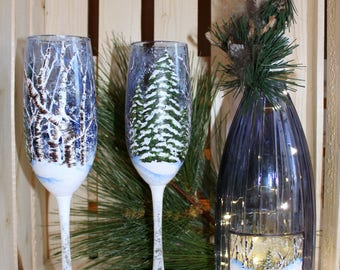 Hand Painted Wine Bottle and Champagne Flutes - Winter Scene - Battery Operated LED Lights