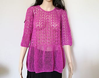 Lace Sweater in fuschia/purple