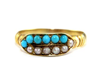 Georgian turquoise ring, turquoise pearl ring, turquoise gold ring, georgian gold ring, turquoise ring, gold pearl ring