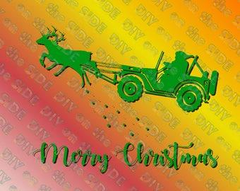 SVG Cut File Santa Jeep Reindeer Sleigh Instant Download Christmas  Raindeer