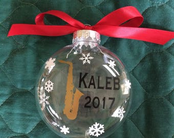 Personalized Saxophone Ornament, Instrument Ornament, Musical Ornament