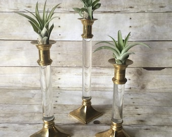 Brass and Lucite Candlesticks - Set of 3 Tiered Hollywood Regency Candle Holders