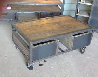 wood and steel coffee table command industrial gregoryMeuble