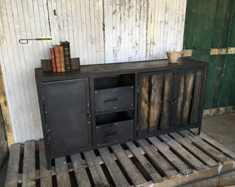 Vintage industrial credenza doors and lockers