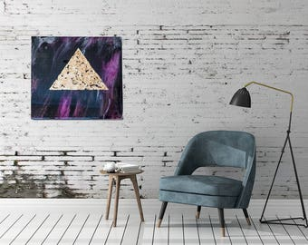 Conspiracy--abstract resin painting with large gold leaf triangle