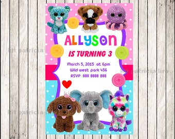 Beanie Boo Invitation, Printable Beanie Boo party invitation, Beanie Boo Birthday invitation
