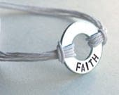 Mini Stamped Metal Washer/ Adjustable wristband engraved washer