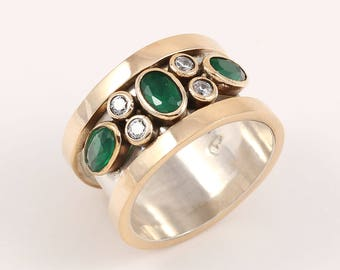 Emerald Stone Turkish Handmade 925 Sterling Silver and Bronze Band Ladies Ring Women Ring Size 6.25 - 8 US