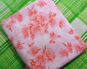 Perma Prest No Iron Percale. Pink and Coral floral full flat Sheet