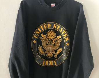 Vintage Black Army Crewneck Sweatshirt Medium Soffe
