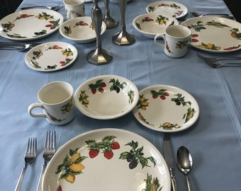 Vintage Set of 5 FARMERS MARKET Dinner PLATES with Fruit and Vegetables on the Plate made by Table Tops Unlimited.
