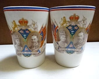 Coronet Ware Parrot & Company China Beaker/Cup/King George V and Queen Mary Silver Jubilee 1935/Royal Memorabilia/Vintage/1935
