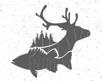 Fish and deer svg Fish SVG Deer svg Fish and deer svg file Hunting svg Fishing SVG Hunting svg Cut Files Forest svg Wood svg Silhouette