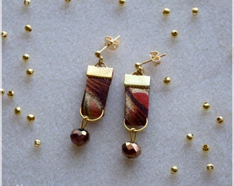 Fabric African loincloth wax reddish, Brown and gold earrings