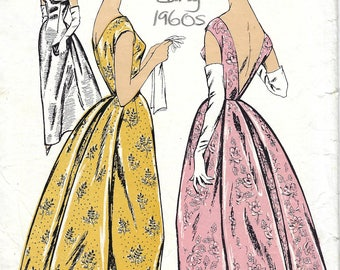 1960s Vintage Sewing Pattern B38 EVENING DRESS (1841) By Le Roy 640