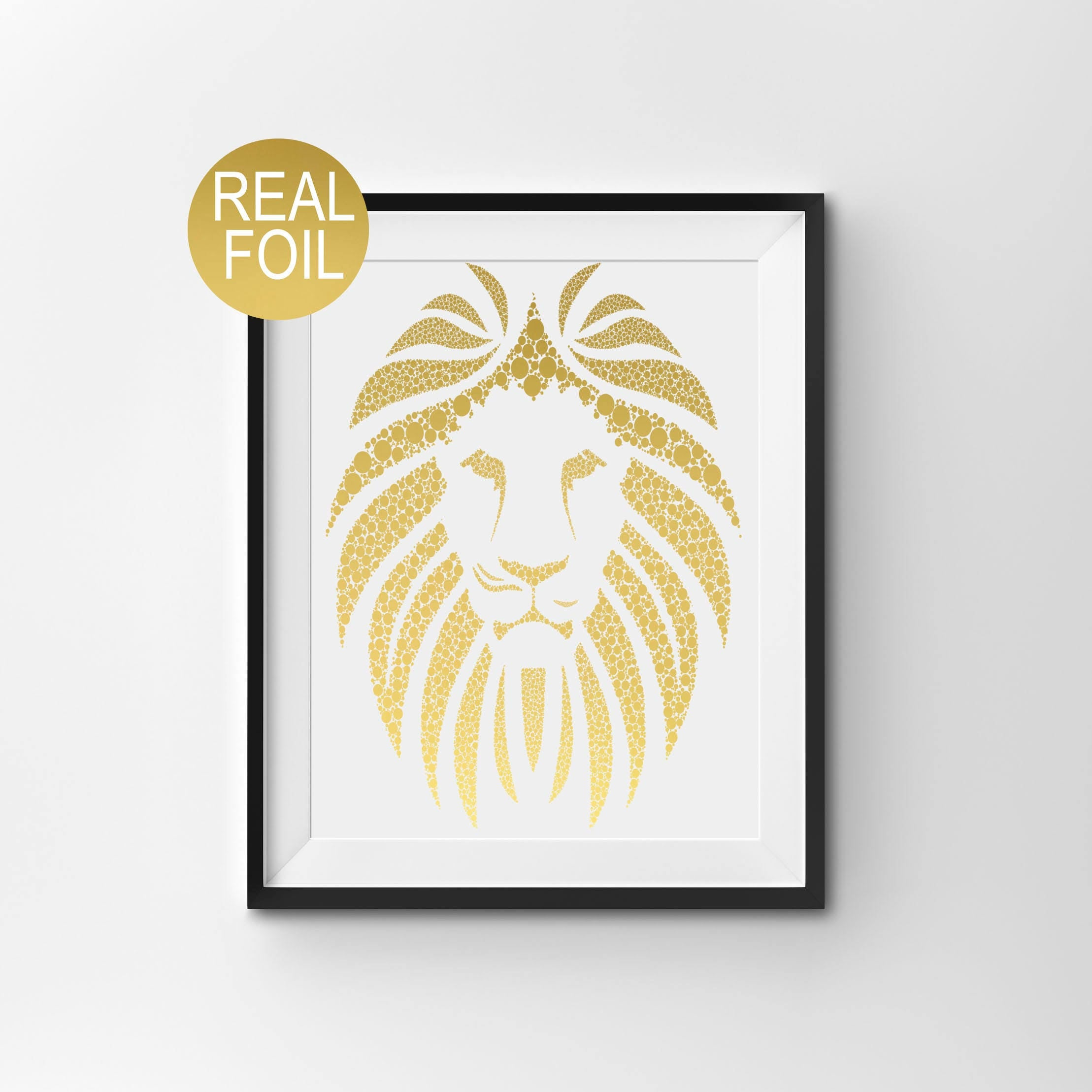 Real Gold Foil Print Lion Wall Art Gold Home