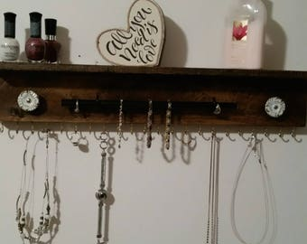 Wall Mounted Jewerly Holder, Jewelry Organizer, Necklace Holder, Rustic Jewelry Holder, Hanging Jewelry Holder, Jewelry Organizer Shelf