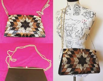 Vintage 1970s Maylette Of London Patchwork Snakeskin Handbag