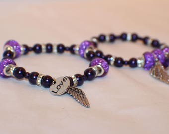Purple Love Beaded Stretch Bracelet- Glass Beads- Friendship Bracelet Set of Two (2)