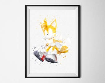 Sonic the Hedgehog Print Tails Watercolor art poster printable Video Games Print Boy Baby Nursery Decor Sonic Gaming prints