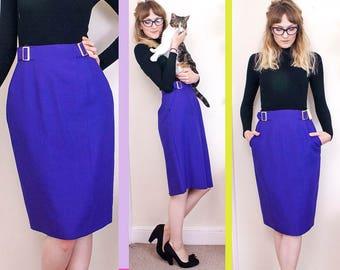 Vintage Pencil Skirt, Purple Skirt, Pinup Skirt, Burlesque Skirt, Highwaisted Skirt, Office Skirt, Pocket Skirt, Cute, Womens, UK, 10, 36, 6
