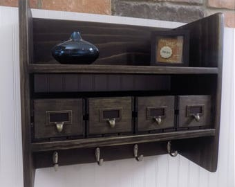 Bathroom Shelf with Towel Hooks / Entry / Kitchen / Coffee / Rustic / Large