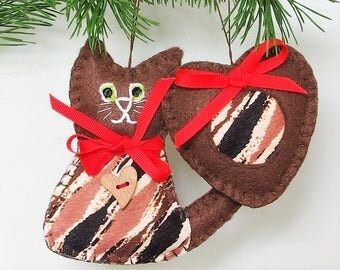 Cat, Felt Cat Decorations Cat Ornament Cat Christmas Gift for Wife Gift for Mom Gift for Her Christmas Ornament