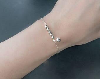 Bell Bracelet, Sterling Silver Bell, Dainty Bracelet, Teen Bracelet, beaded Bracelet, Silver Bell Bracelet, Silver Bracelet, gift for her