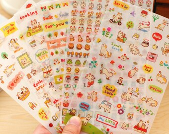 Stickers 6 sheets set cat planner stickers