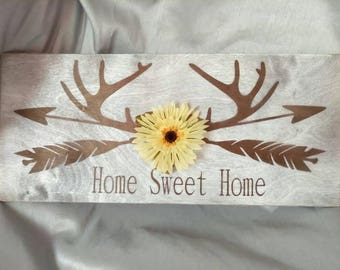 Home Sweet Home hand made painted wood sign