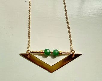 """Boho chic short necklace, brushed gold triangle and delicate beads 16.14""""/41cm"""