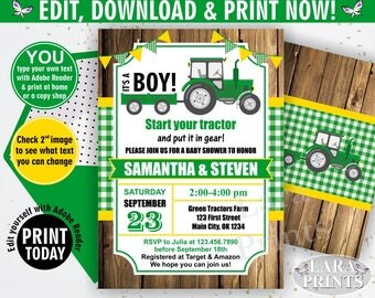 INSTANT DOWNLOAD / edit yourself now / Tractor / Baby shower / invitation / invite / fall / green / yellow / woodland / plaid / boy / BBT2