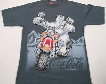 Vintage 90s Coca Cola front and back print bear motorcycle t shirt medium