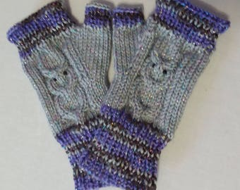 Cabled Owl Fingerless Mitts