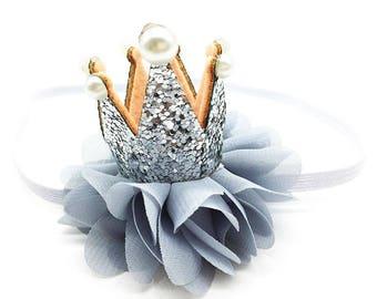 Birthday Crown Baby, Newborn Crown, Girls Birthday, Little Girl Headbands, Infant Headband, Silver Crown, Gray Headband, Toddler Head Bands