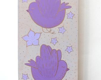 Wood Block Painting - Balloon Flower Birds