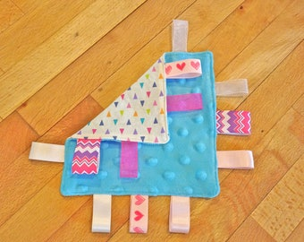 Ultra Soft Mini - Tag Blanket for Baby & Child - Minky and Cotton with Variety of Ribbons