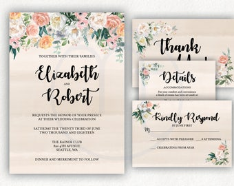 Printable, Digital Customized Floral Flower Tan Pink, Wedding Invitation, RSVP , Accommodation Details Card, Thank you Card, Full Set