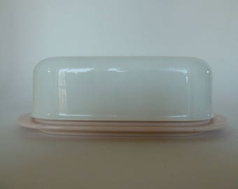 Vintage Tupperware butter dish in Pink and White/Very Clean and shiny finish - No evidence of use