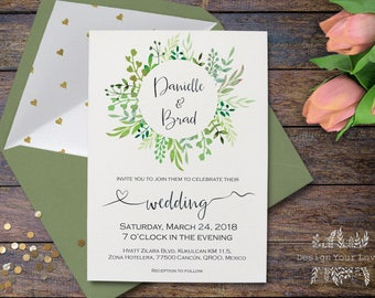 printable green wedding invitation greenery wedding invitations leafy wreath invitation garden floral botanical woodland outdoor wedding diy