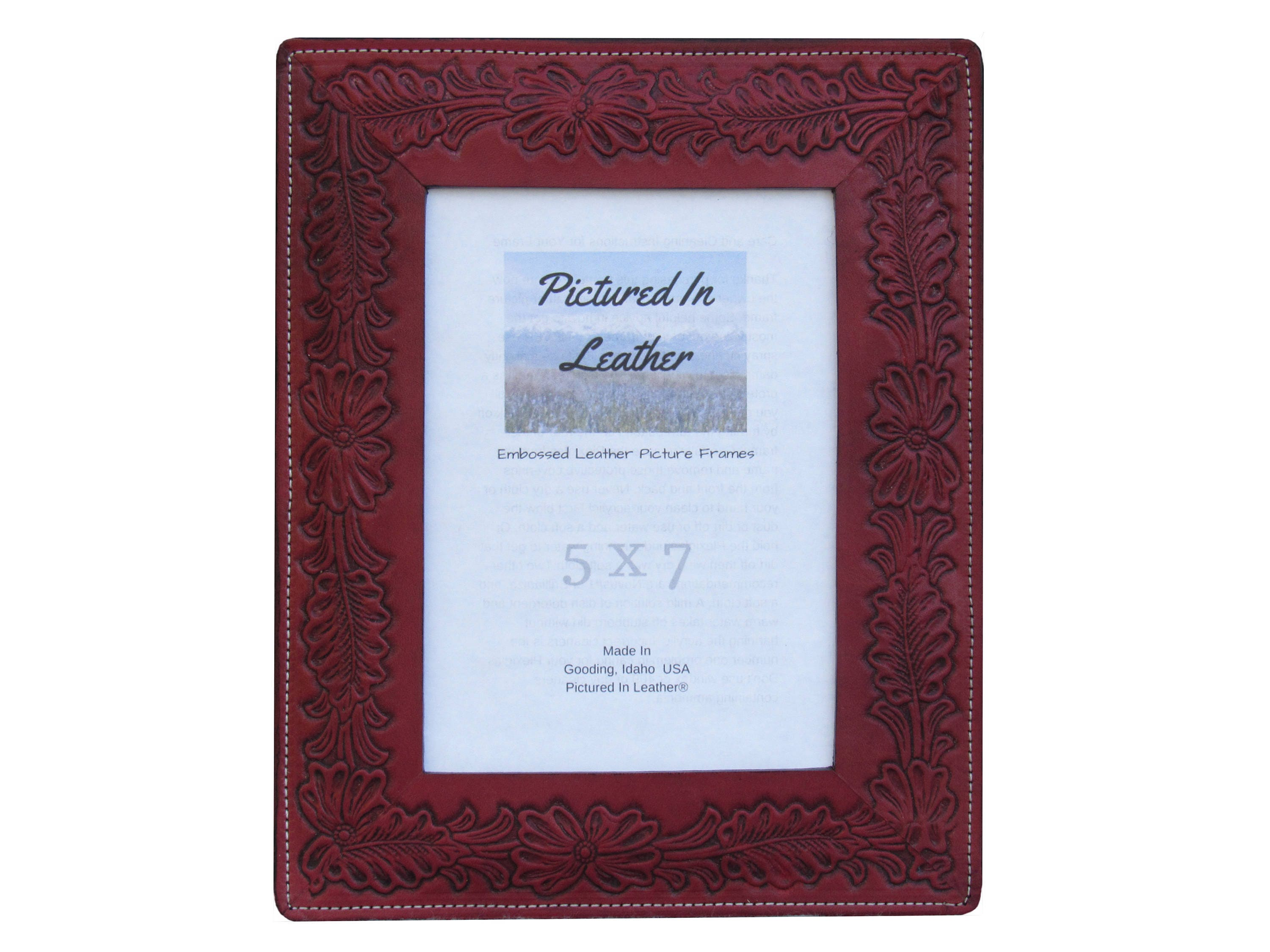 5x7 Leather photo frame, 5x7 leather picture frame, flower picture ...