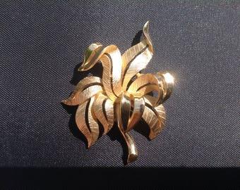 Vintage signed Trifari brooch, leaves, costume jewellery two toned