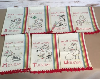 Bear In Mind Monday Tuesday Wednesday Thursday Friday Saturday Sunday Days Of The Week Vintage 1960's Embroidered Linen Tea Towels