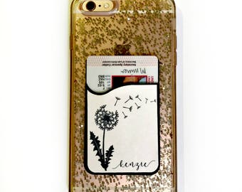 """Our """"Circle of Life"""" Dandelion Design Includes Your Name! - Universal Cell Phone Card Caddy"""